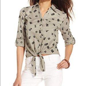 Olive Tie Front Button Down Blouse – Plus Size